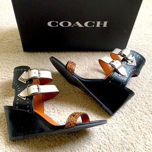 "Coach wedge sandal ""Odessa"" leather/snakeskin"
